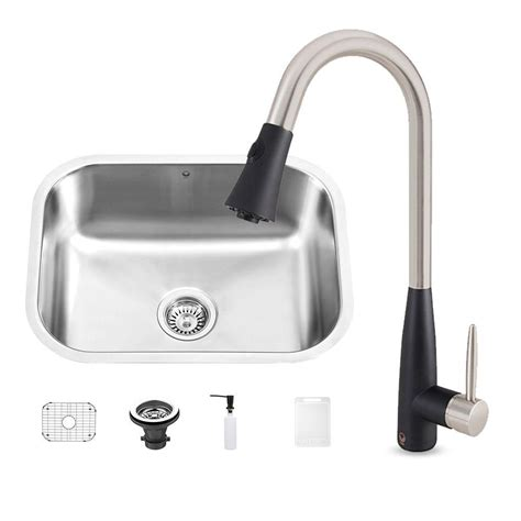 black kitchen sink faucets vigo all in one undermount stainless steel 23 in 0 hole kitchen sink and milburn stainless