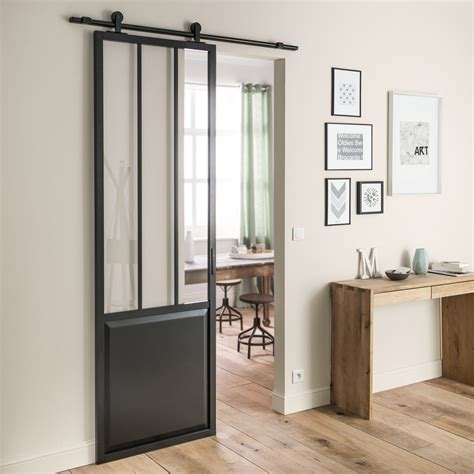 porte de cuisine coulissante ensemble porte coulissante atelier mdf revêtu avec le rail boléro noir leroy merlin
