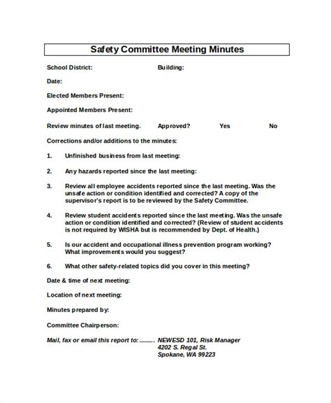 Health And Safety Committee Meeting Agenda Template by Safety Meeting Minutes Template 7 Free Word Pdf