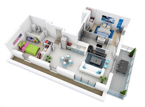 Interior Design Ideas For Small Kitchen - 10 awesome two bedroom apartment 3d floor plans architecture design