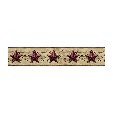 JL1094B Berries Country Tin Dark Red Stars Wallpaper
