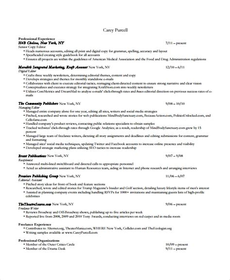 Copy Of Resume For by Sle Copy Editor Resume 7 Free Documents In