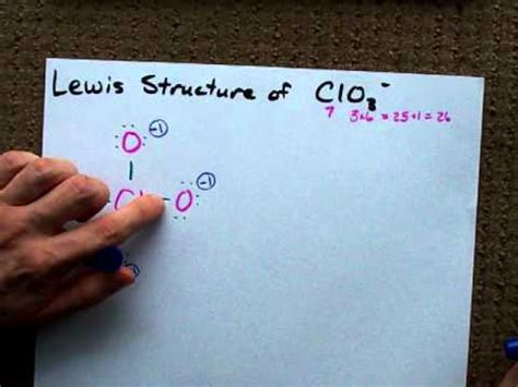 lewis structure  clo chlorate anion youtube