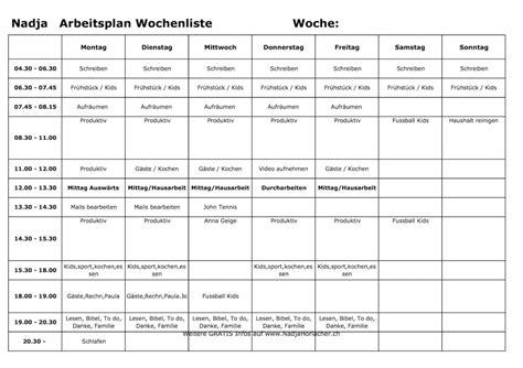 Wochenplan Haushalt Vorlage by Wochenplan Vorlage