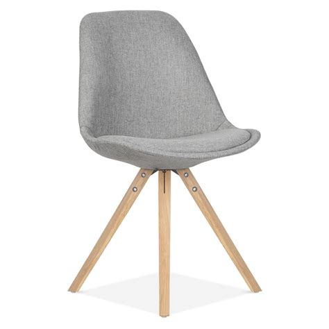 chaises design bois eames inspired pyramid upholstered dining chair in cool grey cult uk