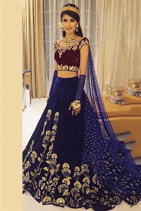 dress maroon style model velvet lehenga choli in blue and