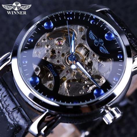 buy winner black skeleton designer blue engraving clock men leather strap mens