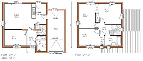 plan maison 4 chambres etage plan de maison a etage 4 chambres
