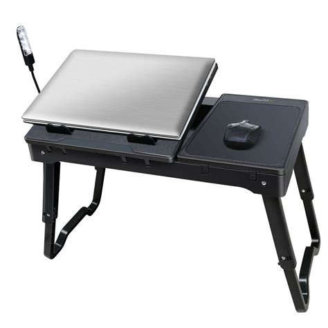foldable laptop table tray desk wcooling fan tablet desk stand bed sofa couch ebay