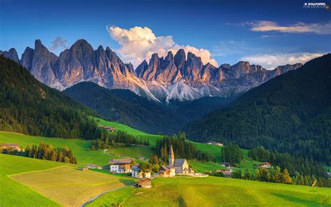 Santa Maddalena Italy Dolomites Mountains Trees