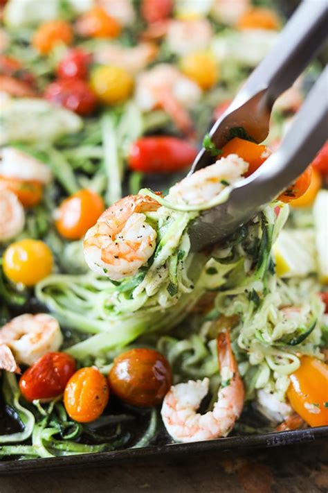 shrimp noodles pan sheet zucchini garlic lemon pencil flat number zuchinni