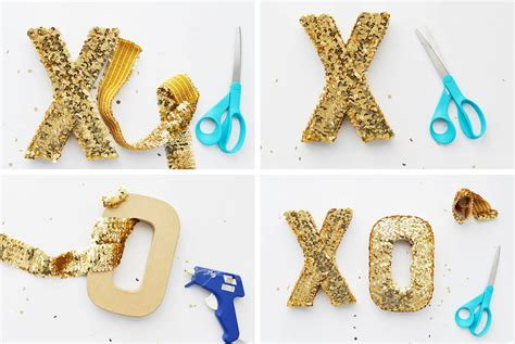 diy sequin xoxo letters