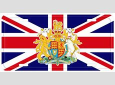 GREAT BRITAIN AND COAT OF ARMS FLAG LICENSE PLATE