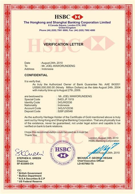 letter sample bank account verification certification hsbc