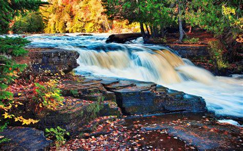 waterfall autumn trees forest rock desktop wallpaper hd  wallpaperscom