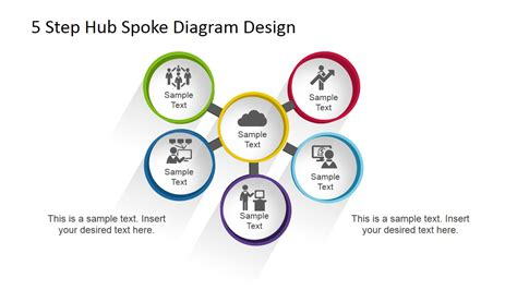 step hub spoke diagram  powerpoint slidemodel