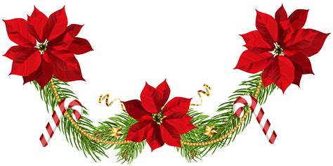 Transparent Background High Resolution Garland Png by Poinsettias Garland Clip Png Image Gallery