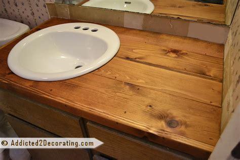 Bathroom Makeover Day 2 My $35 Diy Wood Countertop. Rustic Exterior Doors. Room Doors. Copper Flush Mount Light. Coffee Tables Modern. Outdoor Door Mat. Access Lighting. Austin Interior Designers. Kitchen Islands