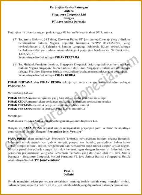 contoh surat perjanjian mitra bisnis 5 mou draft for joint venture fabtemplatez