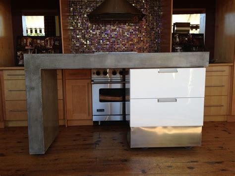 Rolling Concrete Island   Modern   Kitchen Islands And