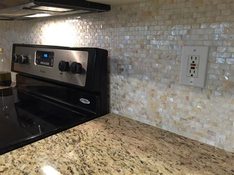 Of Pearl Subway Tile Backsplash by Brick Pearl Shell Tile Kitchen Backsplash Renovation