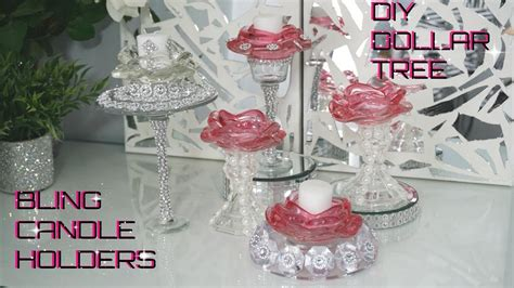 Diy Dollar Tree  Bling Glam Candle Holders  Diy New Glam