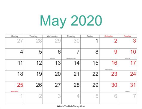 calendar printable holidays whatisthedatetodaycom