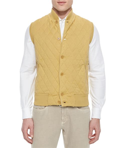 mens sweater vest loro piana quilted button front sweater vest in yellow for