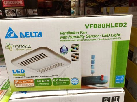 Humidity Sensing Bathroom Fan With Led Light by Delta Breez Vfb80hled2 Ventilation Bath Fan With Led Light