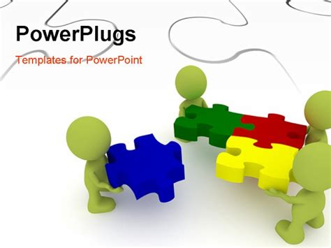 powerpoint puzzle template powerpoint template team of three human character solving puzzles with white puzzle in