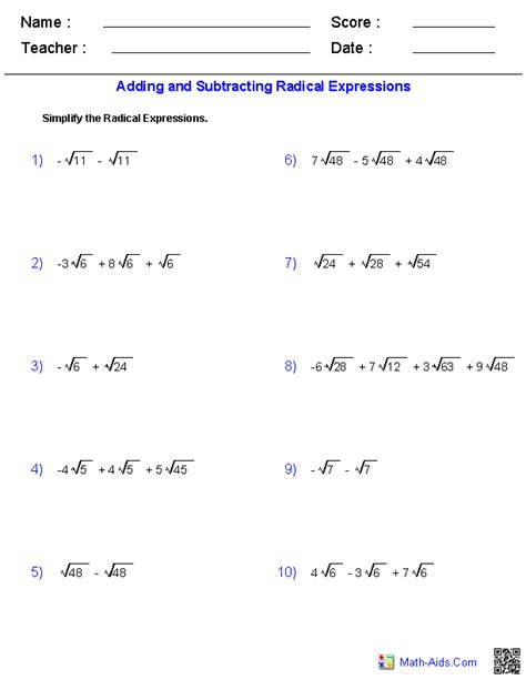 adding  subtracting radical expressions worksheets