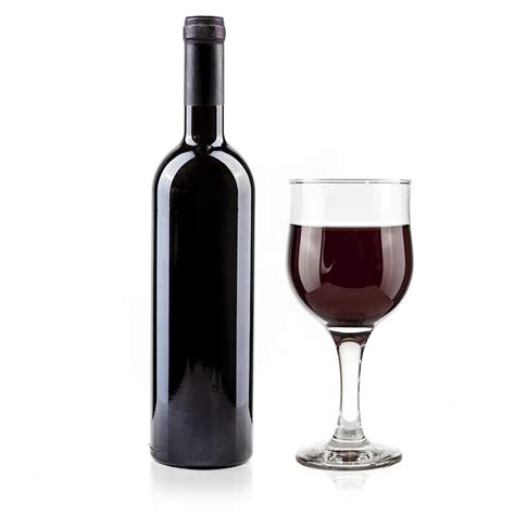 wine bottle red wine bottle and glass on white background photograph