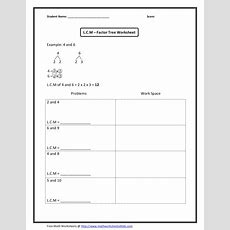 Lcm Factor Trees, Numbers Up To 10 Worksheet For 4th  5th Grade  Lesson Planet