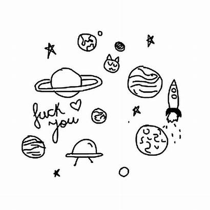 Drawing Galaxy Clipart Aesthetics Planets Doodle Line