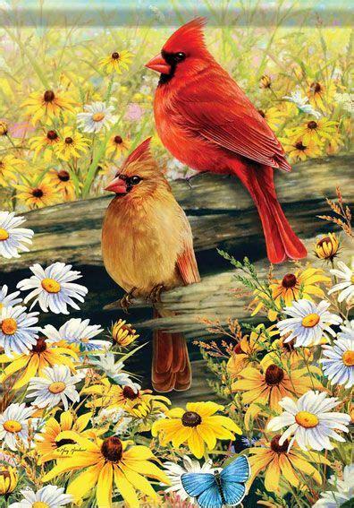 cardinals  spring beautiful birds birds painting