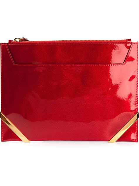 lyst pollini patent leather clutch bag  red