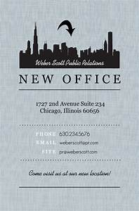 business moving announcements black city gray linen With business moving postcards announcement