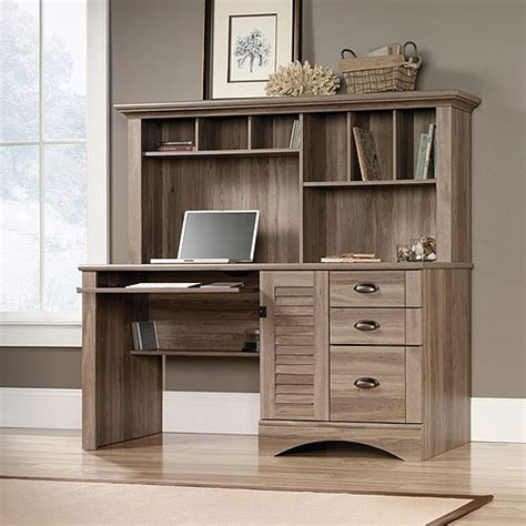sauder computer desk salt oak sauder harbor view computer desk with hutch salt oak