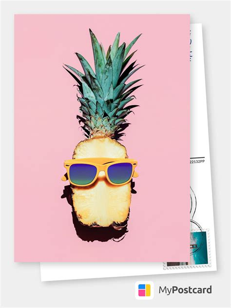 sunny pineapple  images postcard design