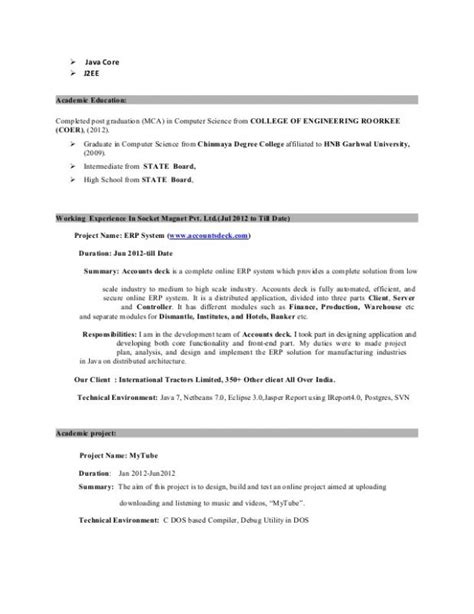 Resume 1 Year Experience Java by Java Developer Resume Template Business