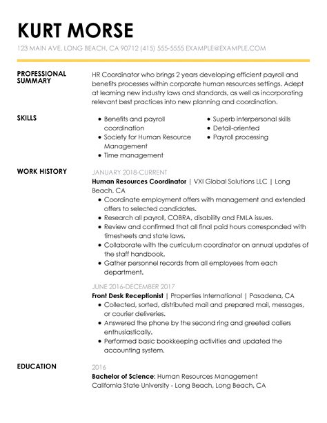 Resume Eg by Free Resume Exles By Industry Title Livecareer