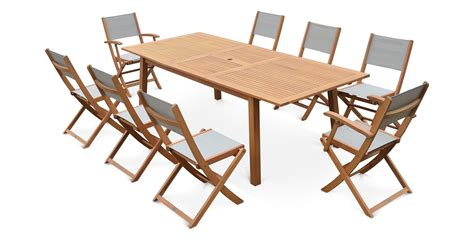 salon de jardin 8 places table extensible bois