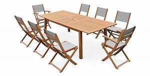 Salon De Jardin Textilene : salon de jardin 8 places table extensible bois ~ Dailycaller-alerts.com Idées de Décoration