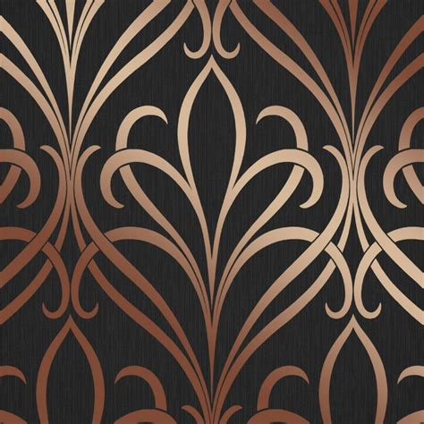 camden damask wallpaper charcoal copper