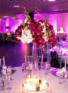 Tall White and Fuchsia Centerpiece of White Hydrangea and ...