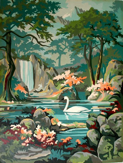 vintage paint by number swan painting