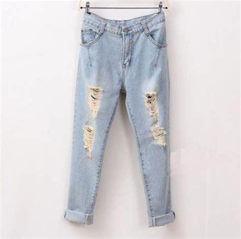 Jeans light blue denim boyfriend jeans cute ripped jeans ripped tumblr - Wheretoget