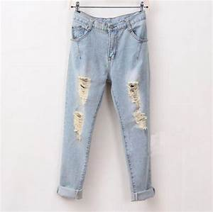Jeans light blue denim boyfriend jeans cute ripped ...