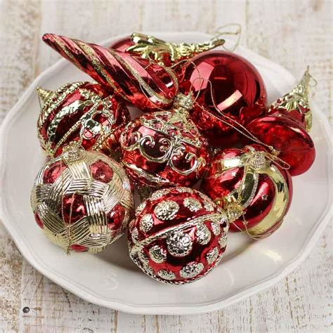 vintage inspired red and gold christmas ornaments