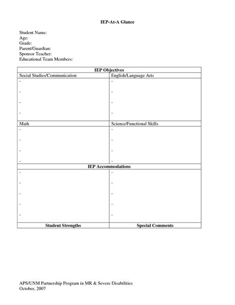 iep template iep at a glance template special services templates